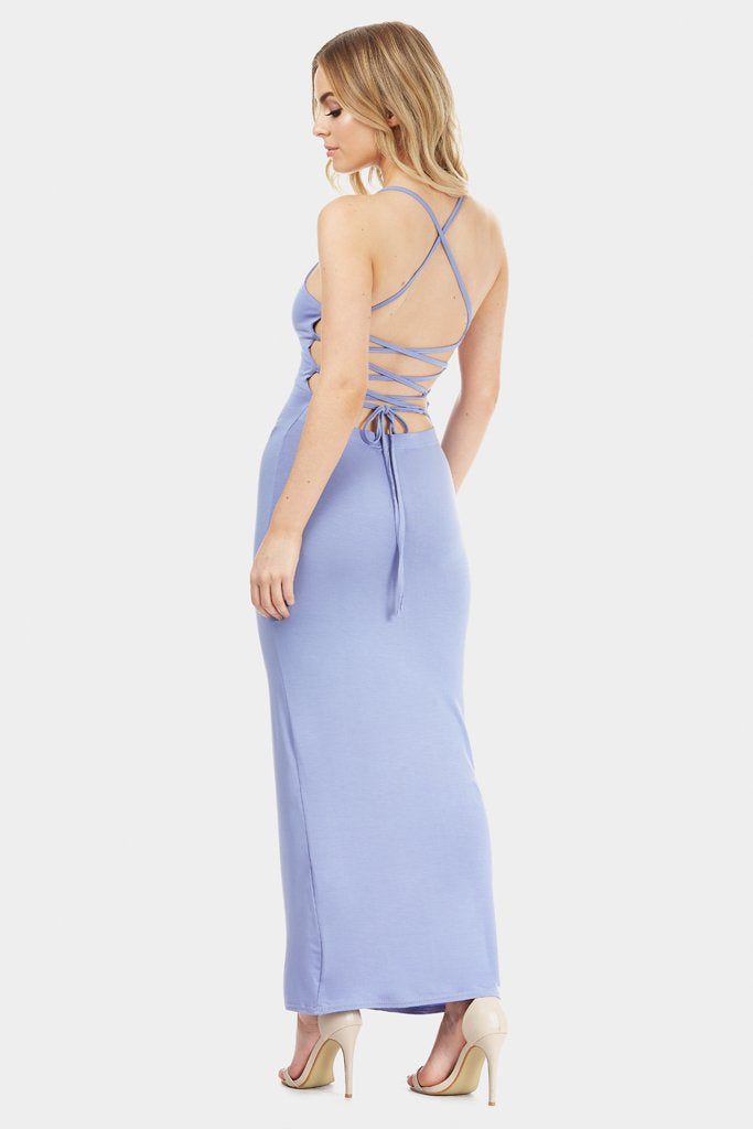 Blue Strappy Back Maxi Dress