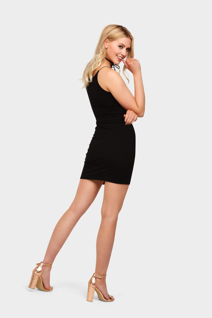 Black Basic Spaghetti Strap Bodycon Dress