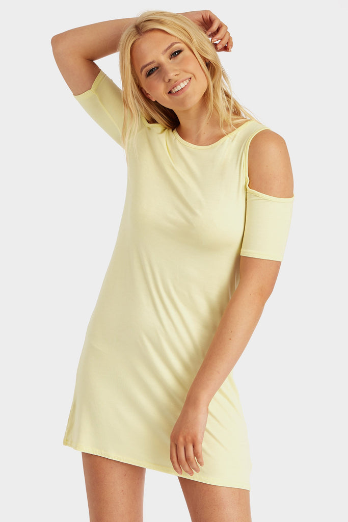 Lemon Cold Shoulder Shift Dress