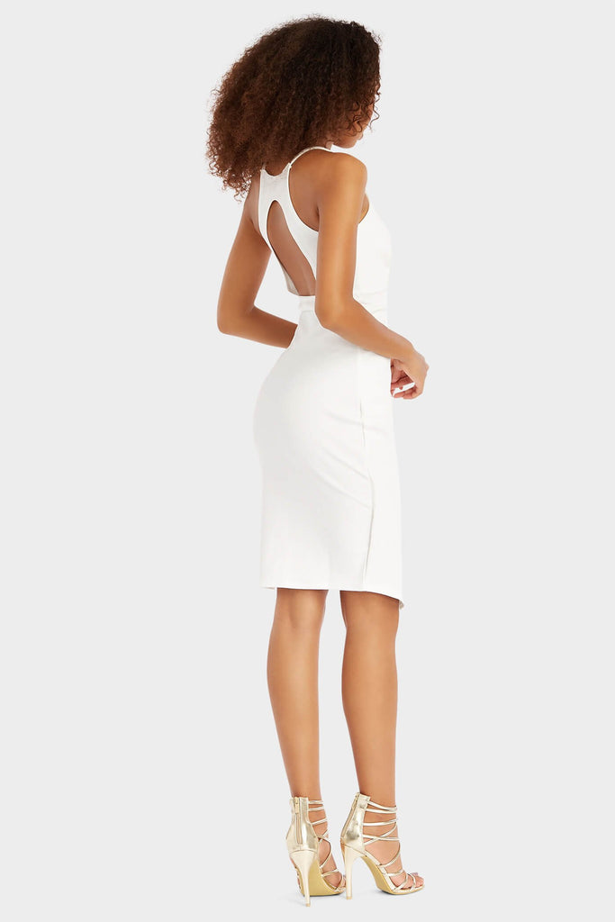 Ivory Deep V Front Split Midi Dress