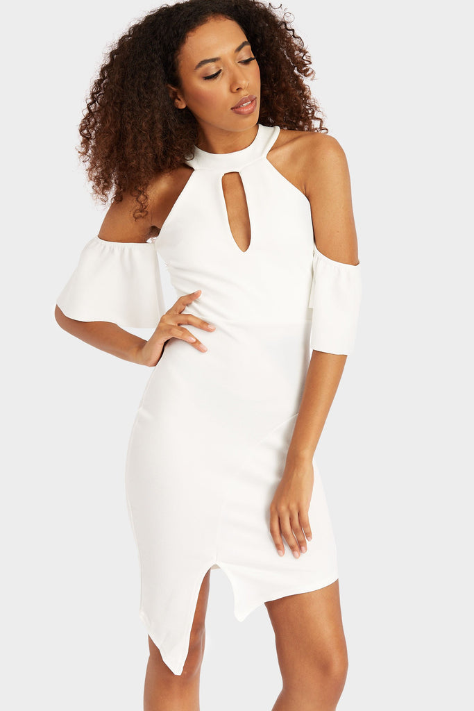 high-neck-arm-frill-bodycon-mini-dress