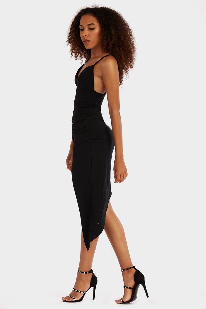 Black Strappy Asymmetric Mini Dress