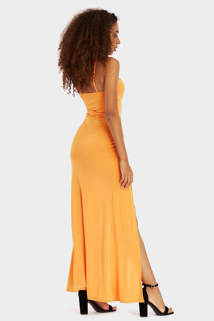 Orange Double Split, Strappy Slinky Maxi