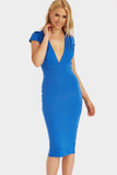 Cobalt Cap Sleeve Plunge Front Midi Dress