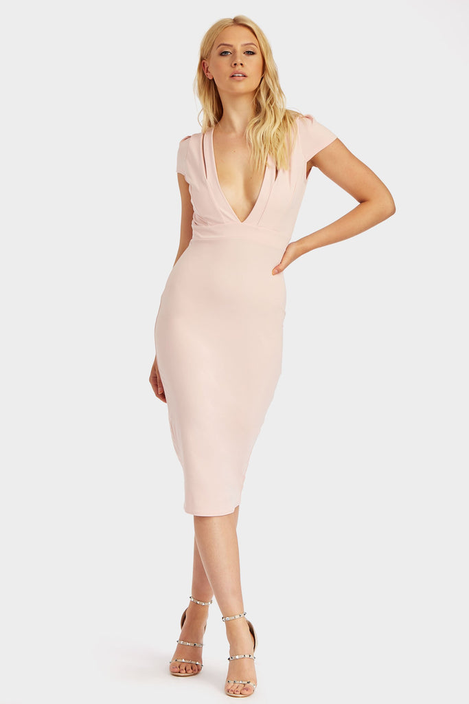 Nude Cap Sleeve Plunge Front Midi Dress
