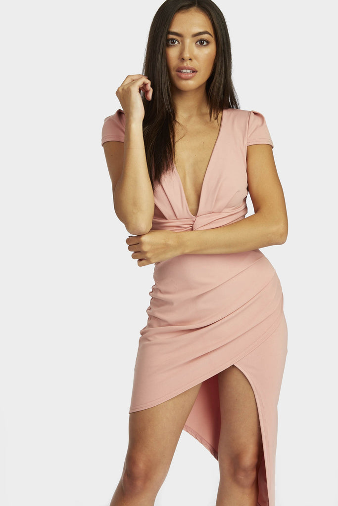 Rose Knot Front Asymmetric Dress