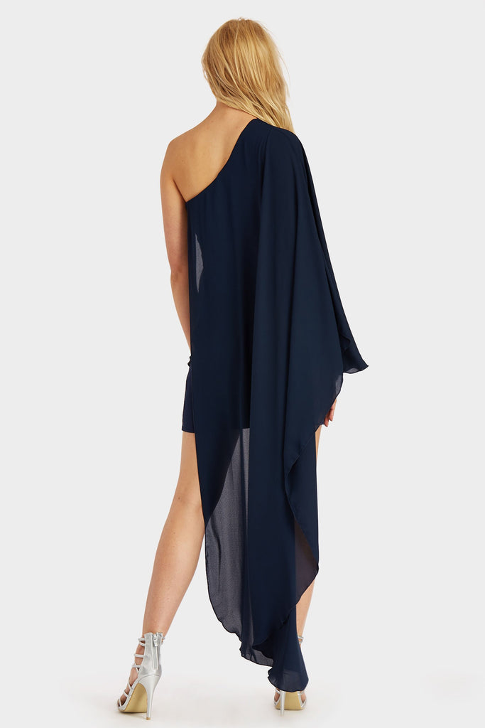 Navy Asymmetric One Shoulder Dress