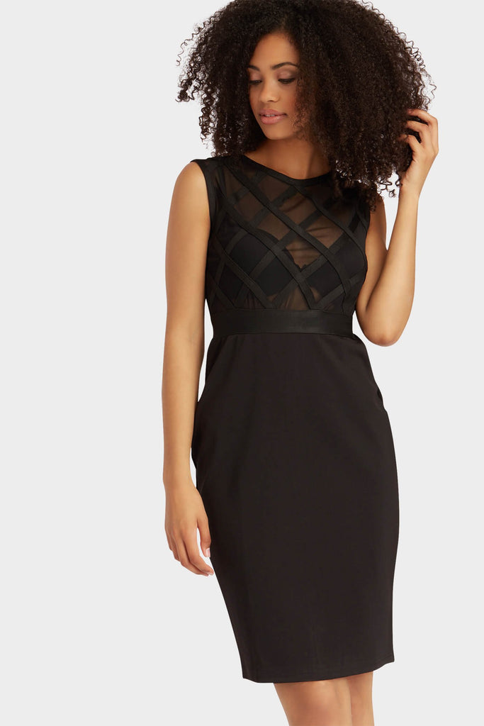 Black Criss Cross Detail Mesh Midi Dress
