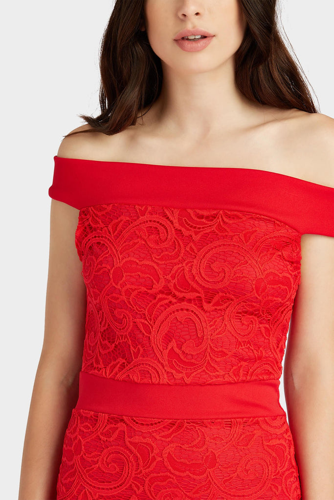 Red Off The Shoulder Lace Dress
