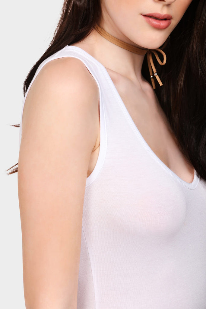 Cream Sleeveless V Neck Bodysuit