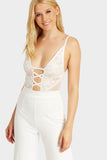 Cream Lace Trim Cross Front Bodysuit