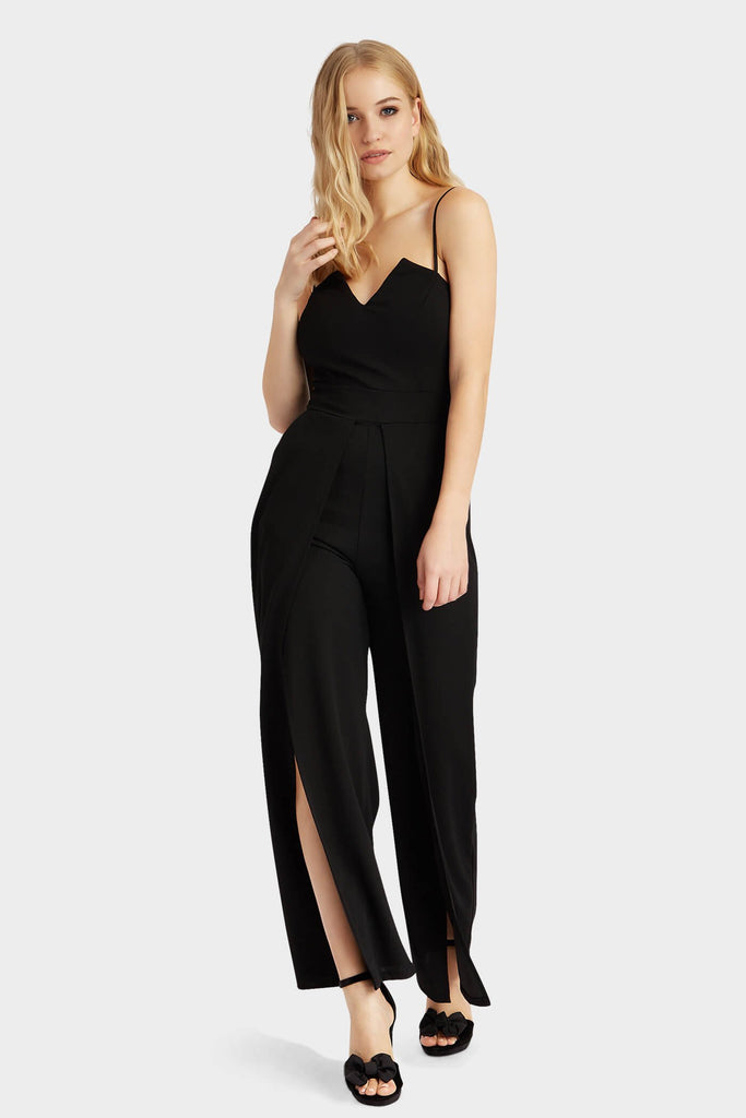 Black Front Split Jumpsuit