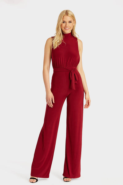 Wine High Neck With Tie Waist Jumpsuit