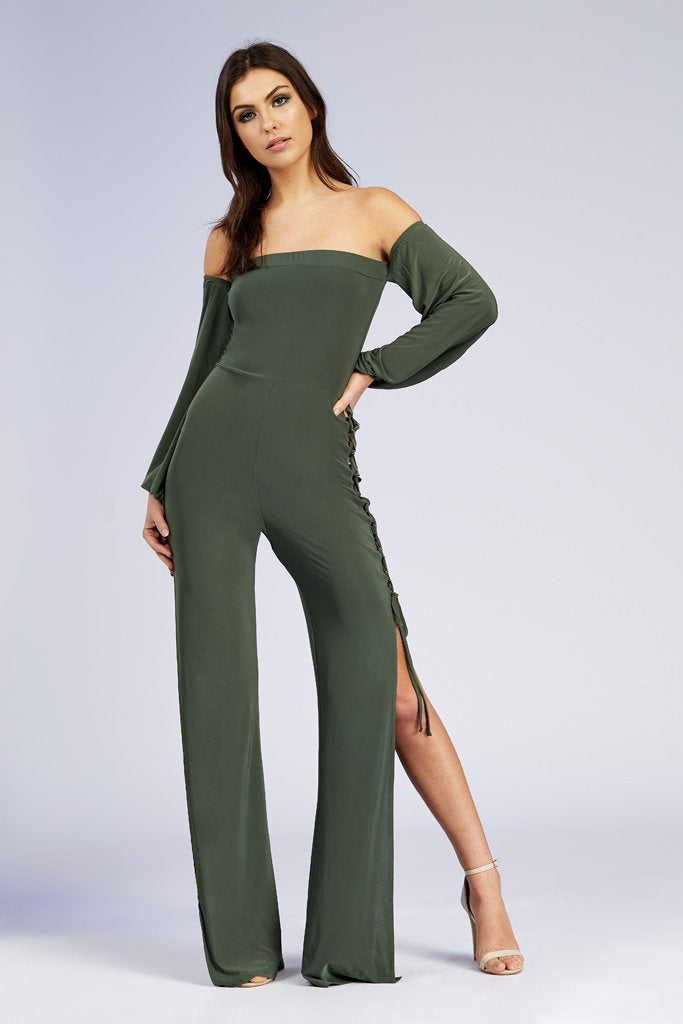 Khaki Bardot With Split Leg And Lace Up Side Jumpsuit