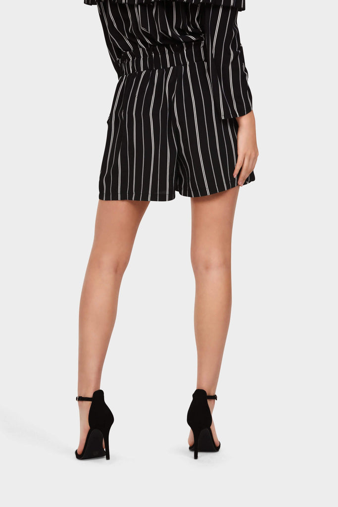 Black Tailored Elasticated Tie Waist Shorts