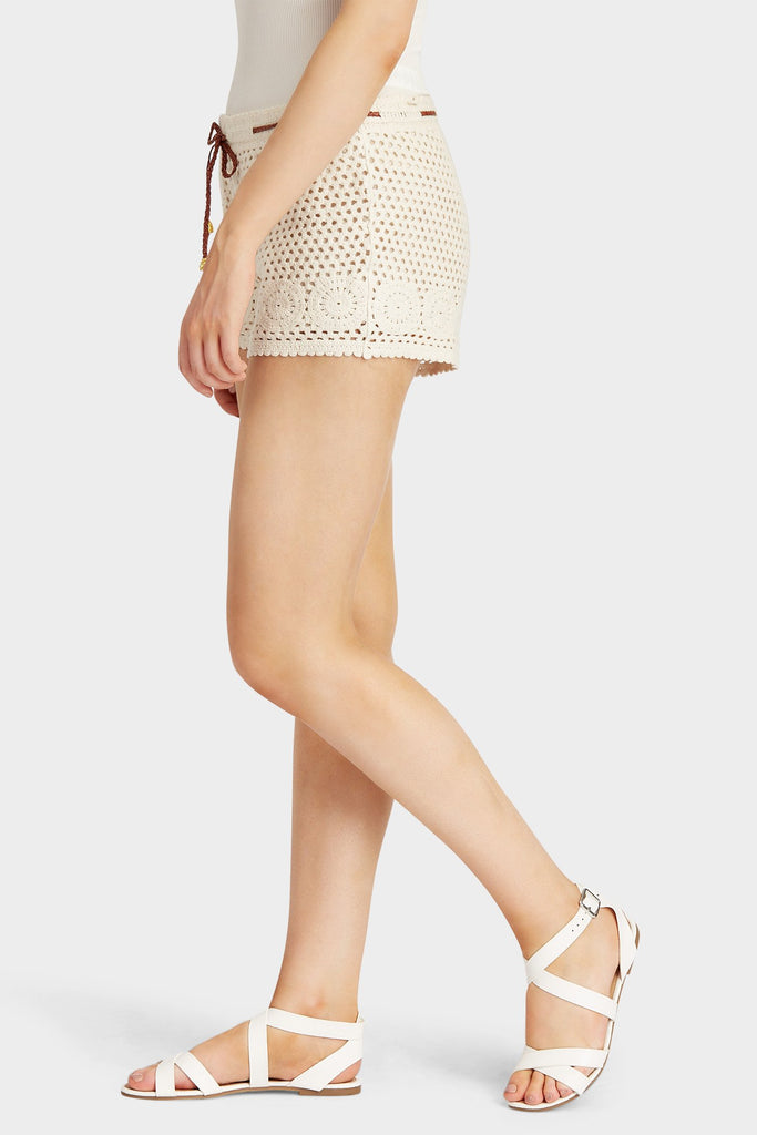 Beige Crochet Shorts With Belt