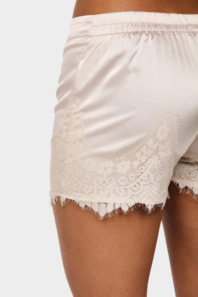 Stone Satin Lace Trim Shorts