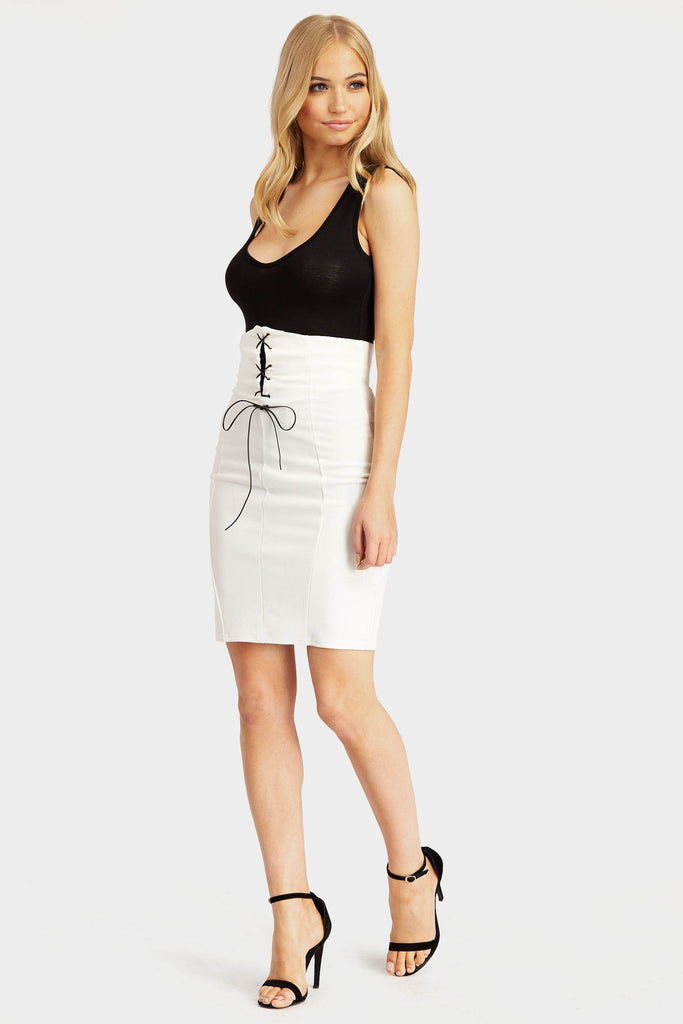 Cream High Waisted Bodice Skirt