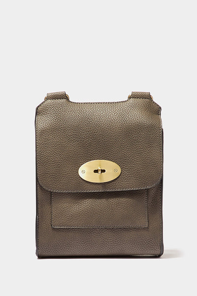 Grey Flap One Shoulder Bag