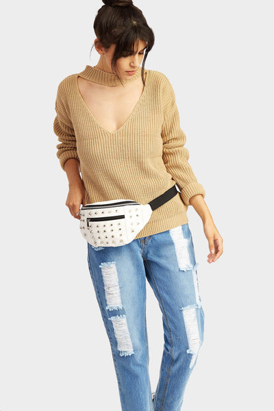 White Studded Bum Bag