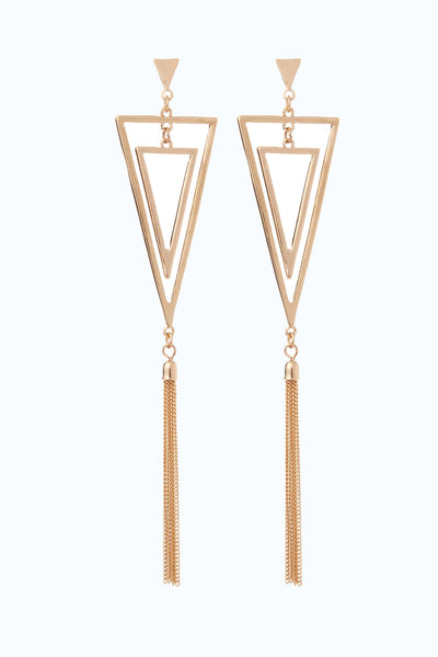 Gold Triangle Drop Tassel Earring