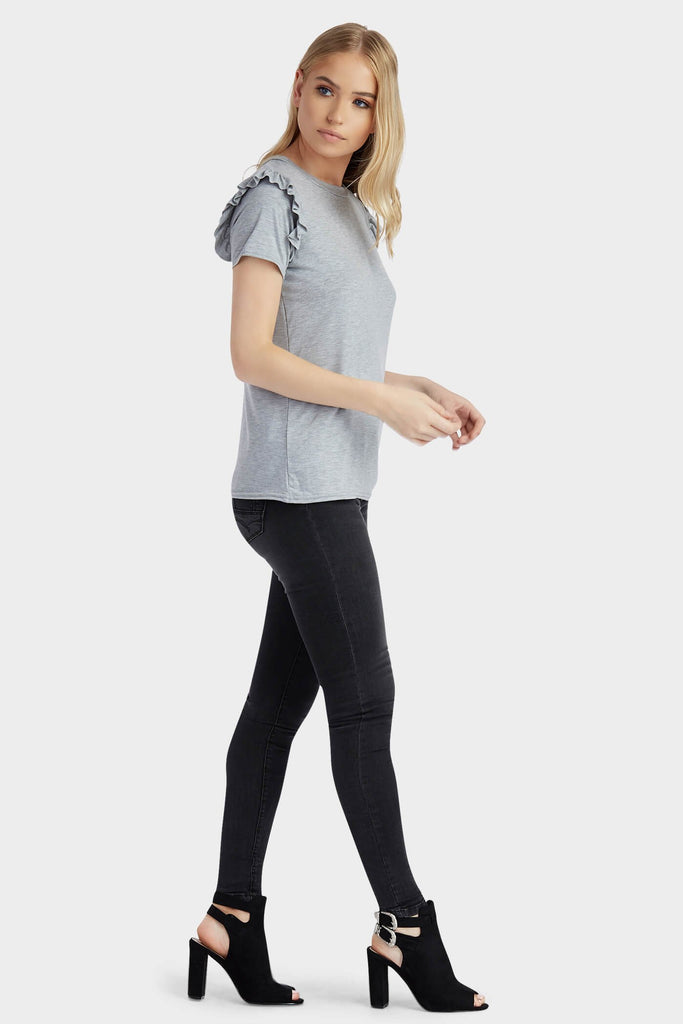 Grey Frill Shoulder T-Shirt