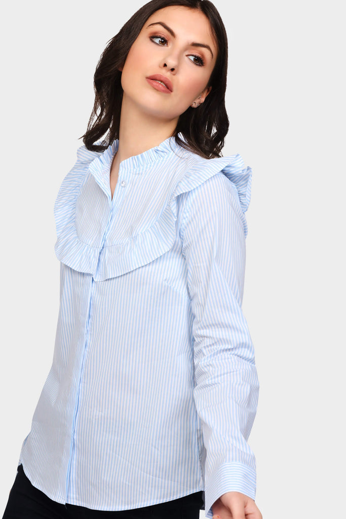 Light Blue Striped Bib Front Frill Shirt