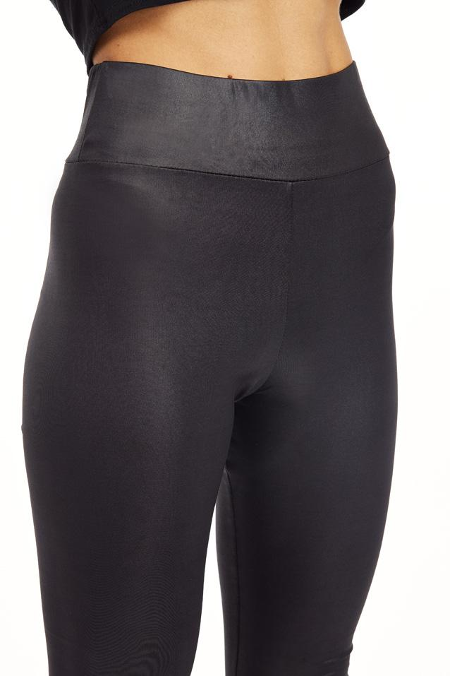 Black High Waist Wet Leggings