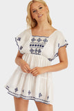 White/Blue Embroidered Frill Beach Dress