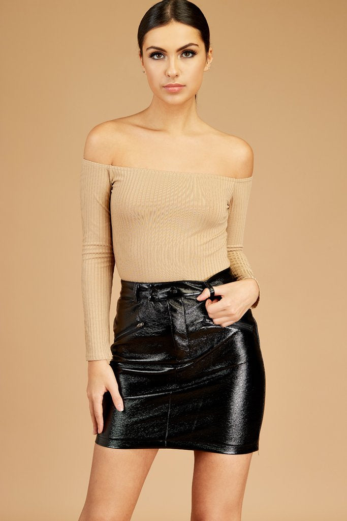 Tan Bardot Ribbed Top