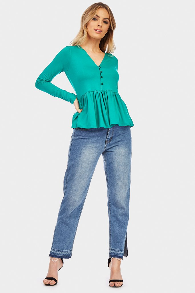 Green Button Peplum Top