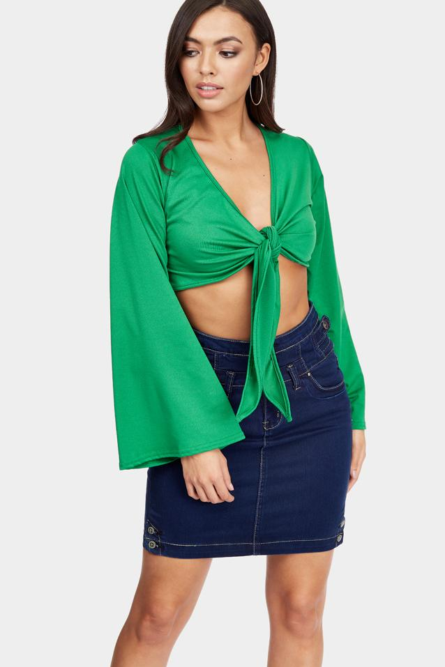 Green Flare Sleeve Knot Plunge Crop Top