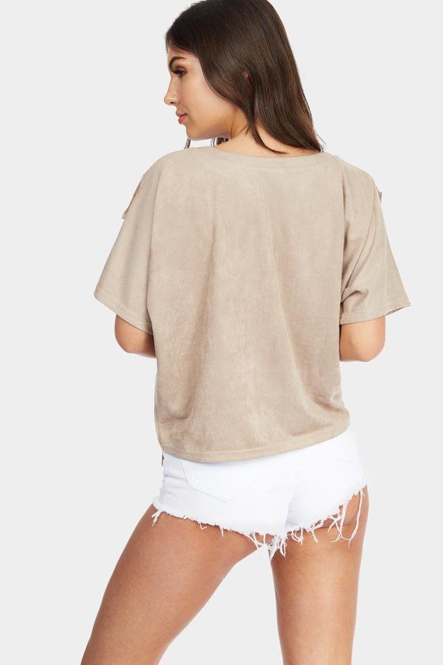 Brown Faux Suede Fringe Detail Batwing Top