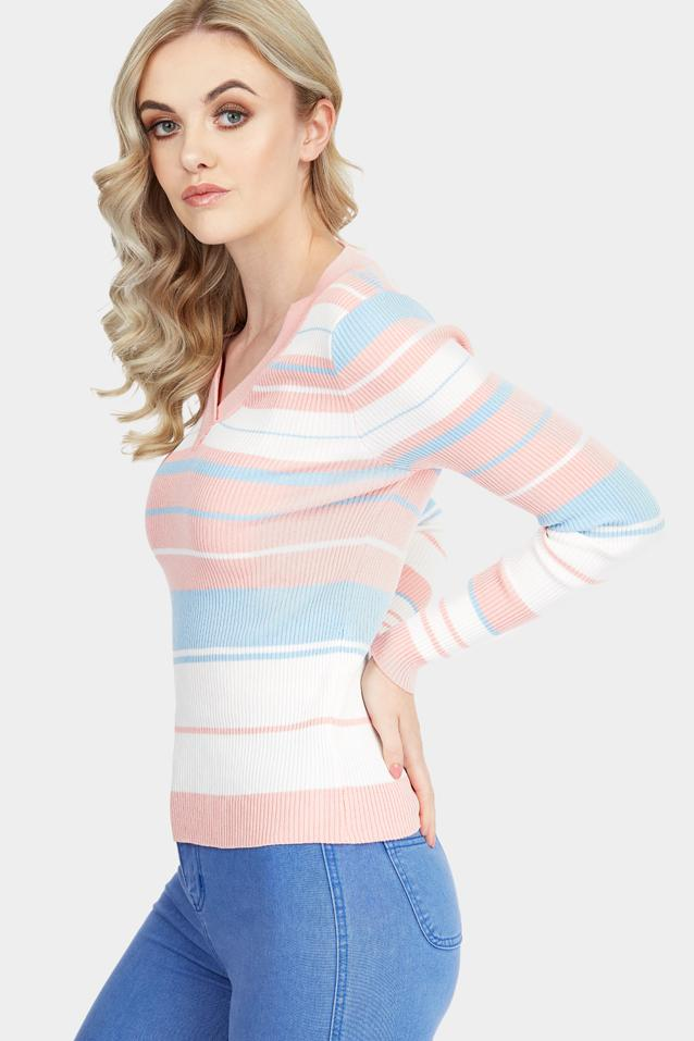 Pink V Neck Stripe Ribbed Top