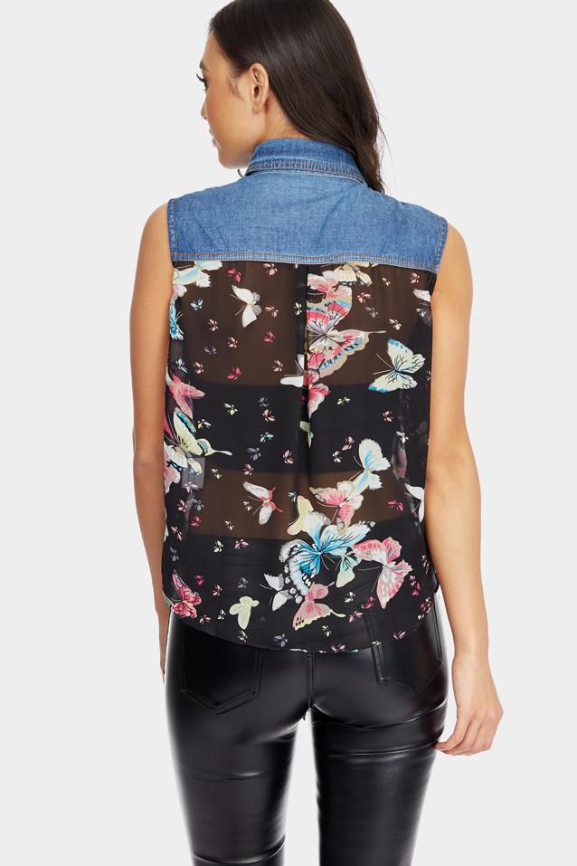 Black Butterfly Print Tie Up Top