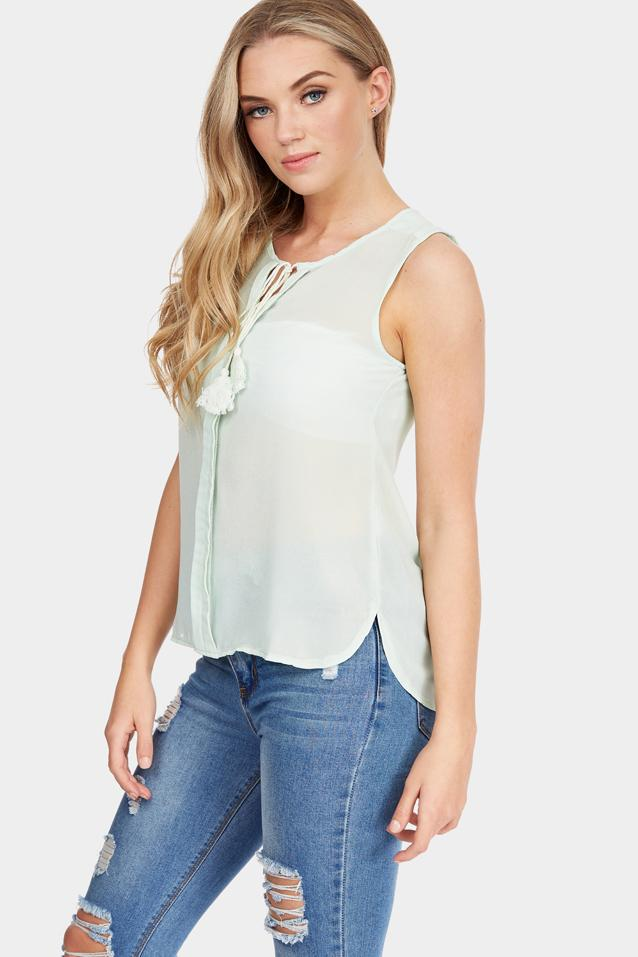 Green Tassel Detail Top