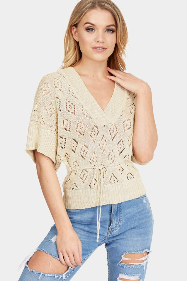 Beige Diamond Knitted Top