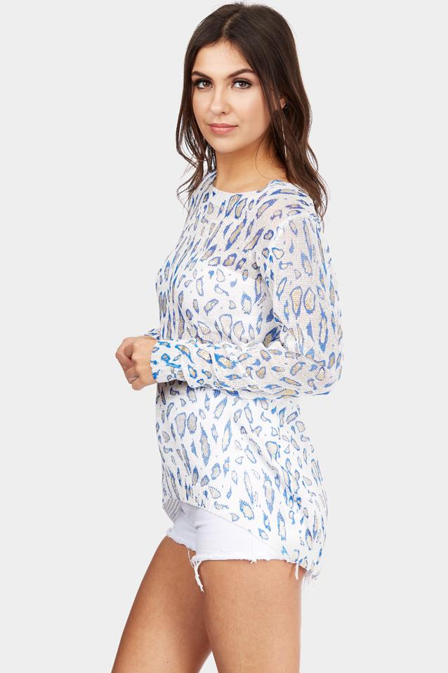 Blue Metallic Animal Knitted Top