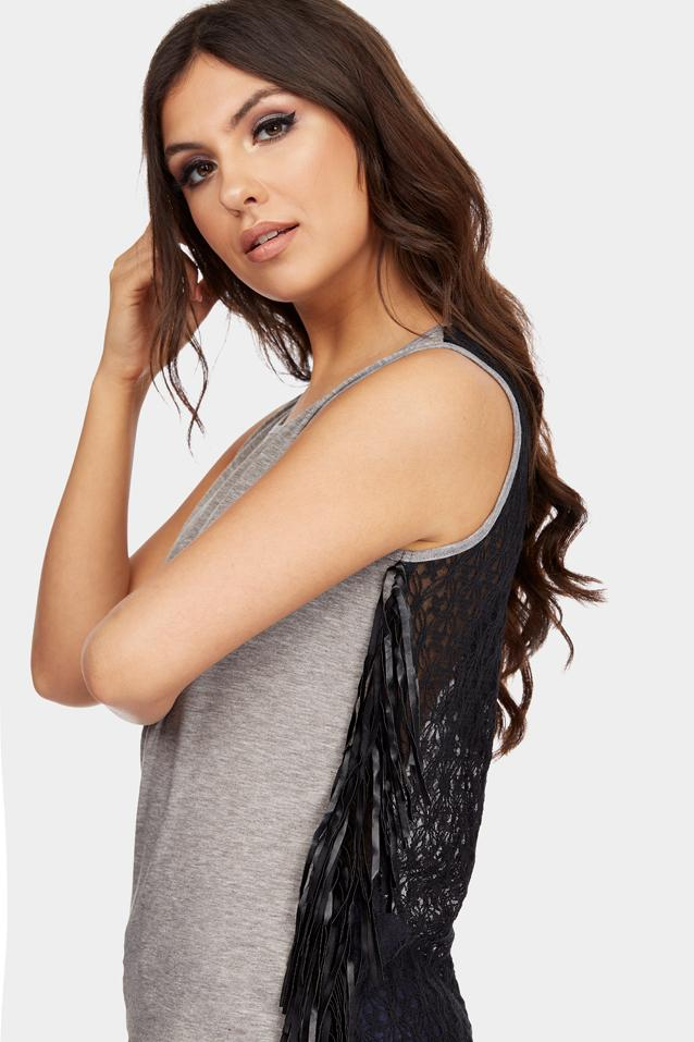 Grey Fringe Trim Vest Top