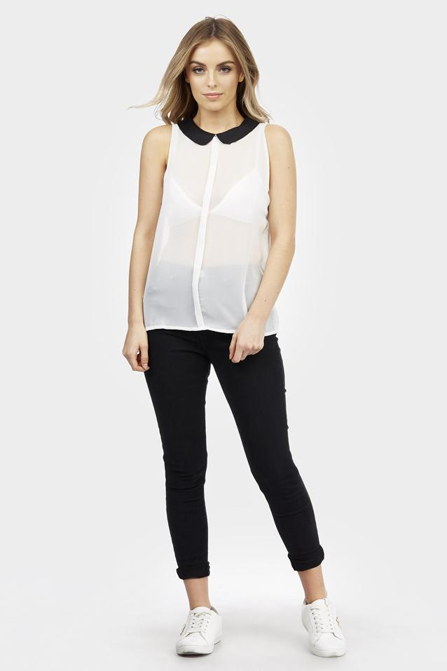 contrast-collar-chiffon-blouse view 2