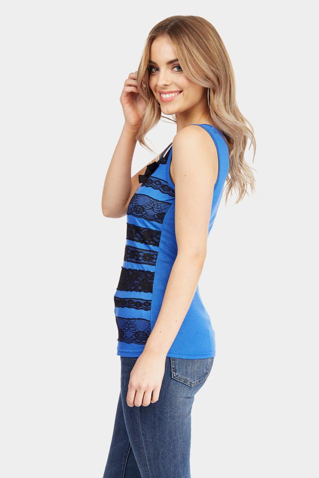 Blue Lace Stripe Vest Top