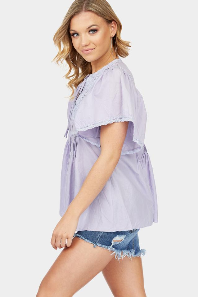 Purple A-Line Top With Fluted Sleeves