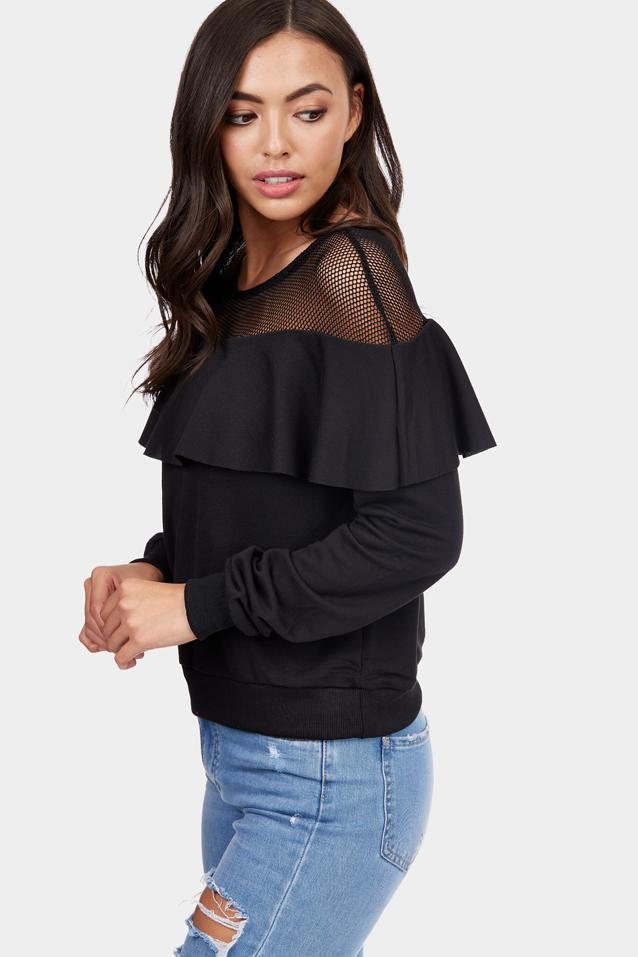 Black Fishnet Frill Long Sleeve Top