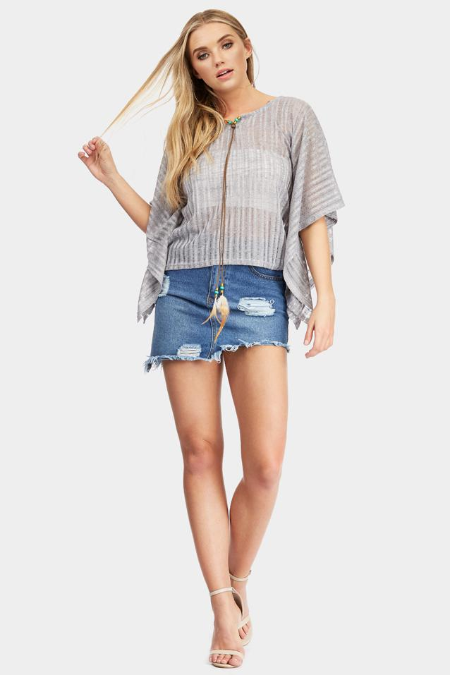Grey Knit Kaftan Top With Feather Tassel Detail