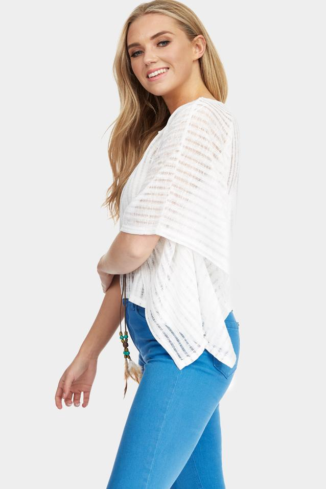White Knit Kaftan Top With Feather Tassel Detail