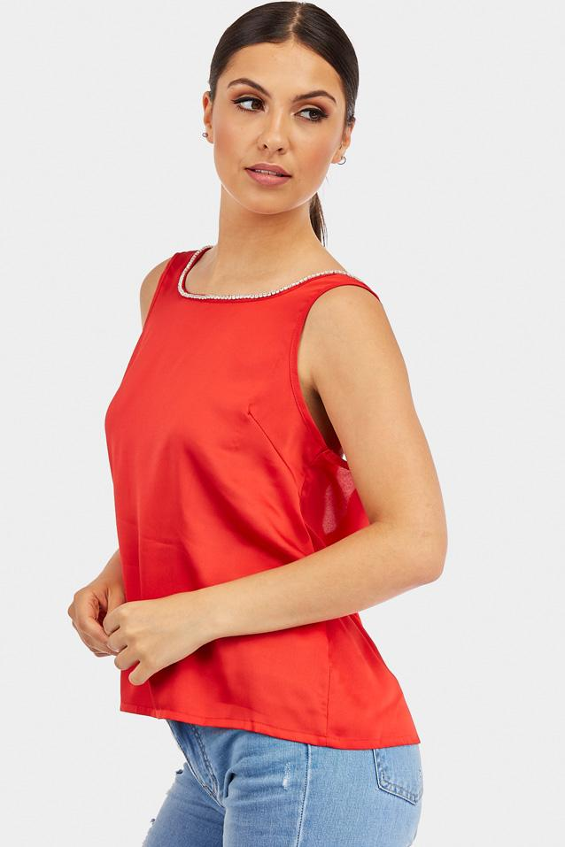 Red Diamante Neck Detail Top