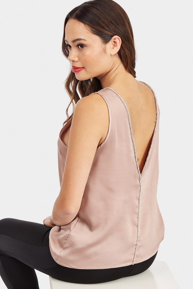 Nude Diamante Neck Detail Top