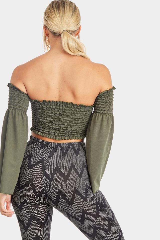 bell-sleeve-shirred-crop-top