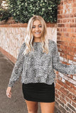 Grey Leopard Print Blouse