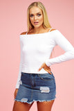 White Cold Shoulder Crop Sweat Top